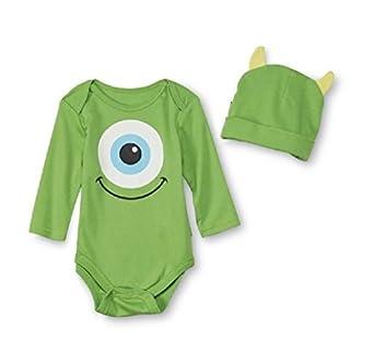 Amazon com disney baby monsters inc infant onesie with hat mike wazowski 6 9m clothing