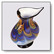 Hand Blown Abstract Swirls Art Glass Vase with Heart Opening