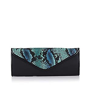 Big Buddha Zena Snake Clutch Handbag Teal Multi