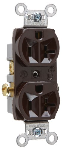 Pass & Seymour Cr20Cc12 Commercial Grade Receptacle 20-Amp 125-Volt Side Wire, Brown