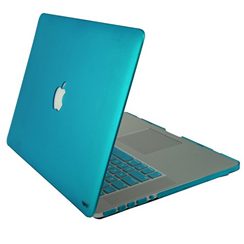 "Heartly Premium MacBook Flip Thin Hard Shell Rugged Armor Bumper Combo Back Case Cover + Keyboard Cover + Dust Ports For MacBook Pro 15"" inch With Retina Display Light Blue"