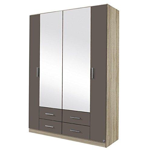 Kleiderschrank grau 4 Türen B 136 cm eiche sanremo Schrank Drehtürenschrank Wäscheschrank Spiegelschrank Kinderzimmer Jugendzimmer kaufen