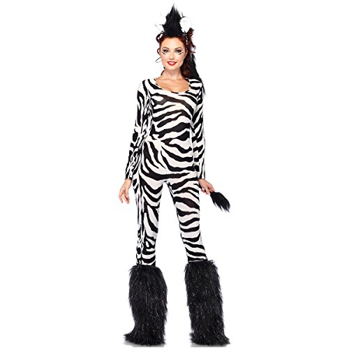 Wild Zebra Cat Suit Costume - X-Small - Dress Size 0-2 (Wild Zebra Adult Womens Costume)