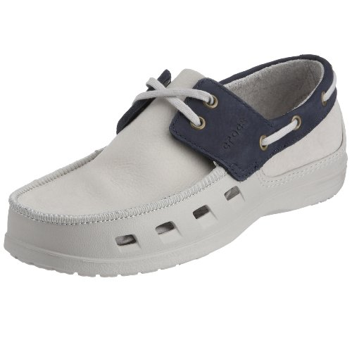 crocs Men's Cove Slip-On Deck Shoe, Lacing On Top, Side Vents Croslite