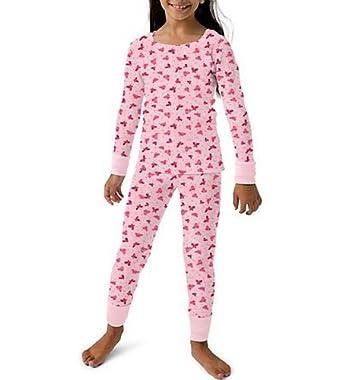 Hanes Girls Thermal Set Candy Pink Print L