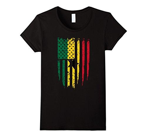 Women's Ghanaian American Ghana & America Flag T-Shirt Medium Black (America Grown compare prices)