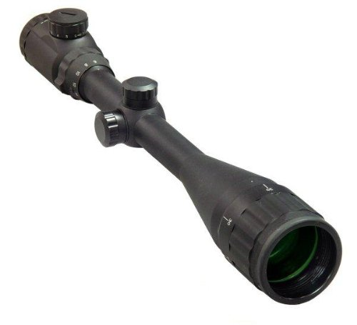 Ultimate Arms Gear 8-32X50 Dual Red & Green Iluminated Tactical P4 Mil Dot Rifle Hunting Sniper Scope + Premium Weaver-Picatinny High Profile See-Thru Scope Rings, Lithium Battery, See Thru Lens Caps, & Lens Cleaning Kit