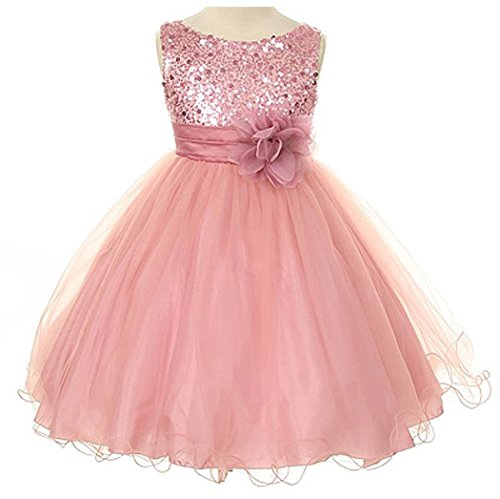 Sequin Bodice Tulle Special Occasion Holiday Flower Girl Dress – Dusty Rose 9-10