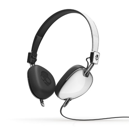 Skullcandy Navigator Headphones with Mic, (White/ Black)