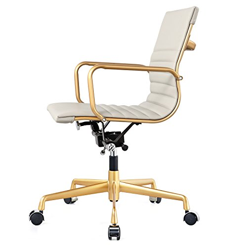 Meelano M348 Office Chair In Vegan Leather Grey And Gold
