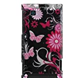 Premium Hard Design Crystal Snap-on Case for Motorola DEVOUR A555 Android Phone (Verizon Wireless), Cool Pink Butterfly Print Seamless Back Case Only