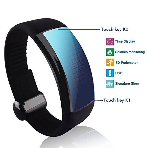 Smart Watch Bracelet 3D Sports Pedometer Calorie Counters 8GB (Black) Happy B00OSY1T6I
