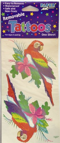 """RED PARROT Bird 5"""" Tall REMOVABLE Temporary Waterproof Non-Toxic TATTOOS (2 Count)"""