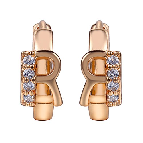 Snowman Lee 18k Rose Gold Plated Two-Tone Gemstone Receive Love Hoop Earrings