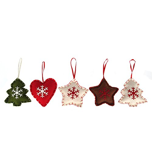 Danibos Adorable All Kinds of Assorted Winter Santa Claus Christmas Deer Christmas Gloves Christmas Stockings Lucky Hanging Drop Tree Ornaments Cute Christmas Gift Choose the Set You Like (star&heart set)