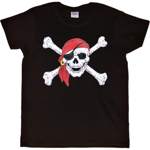 WOMENS T-SHIRT : BLACK - LARGE - Red Bandana Pirate Skull and Crossed Bones - Jolly Roger