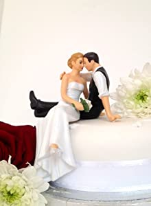 wedding cake toppers assorted colours bride and groom sitting
