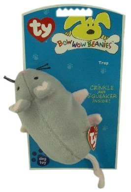 "TY Bow Wow Beanies ""Trap"" Mouse Plush Dog Toy Regular Size"