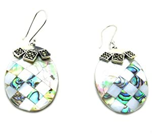 Black Lip Shell & White Lip Shell & Paua Shell Oval Drop Earrings, Different Patterns of Two Sides