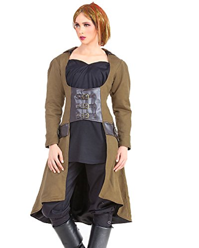 Steampunk Victorian Gothic Womens Costume Under-bust Vampire Trench Coat