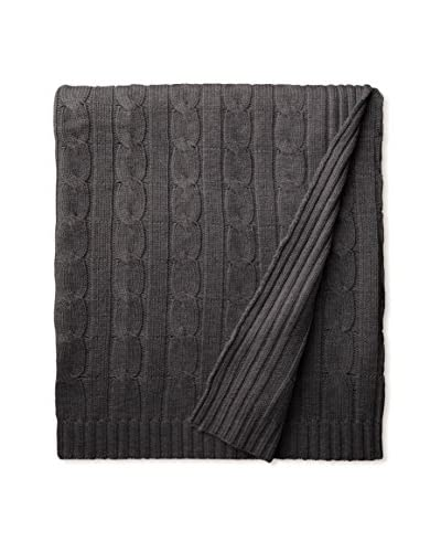A&R Cashmere Wool Cable Knit Throw, Charcoal Grey, 50x65