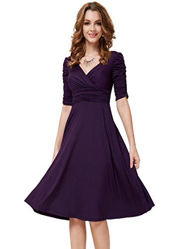 HE03632PP10, Purple, 8US, Ever Pretty 3/4 Sleeve Junior Dresses Casual 03632