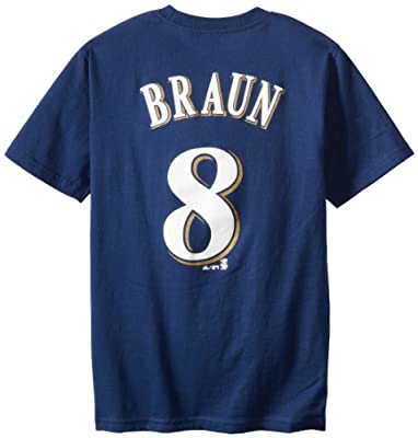 MLB Majestic Milwaukee Brewers #8 Ryan Braun Navy Blue Youth Player T-shirt