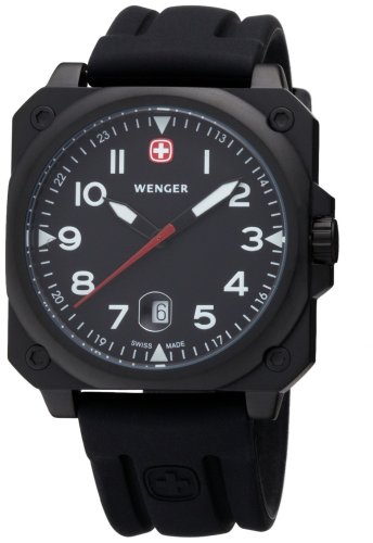 AeroGraph Cockpit Men's Watch with Black Rectangle Dial and Black PVD Case from Wenger®