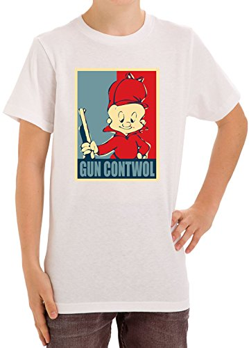 elmer-fudd-gun-contwol-poster-funny-kids-unisex-t-shirt-ages-5-13-x-large