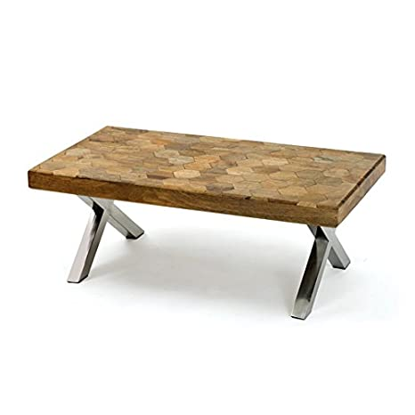 Polished Accents Coffee Table with Natural Finish