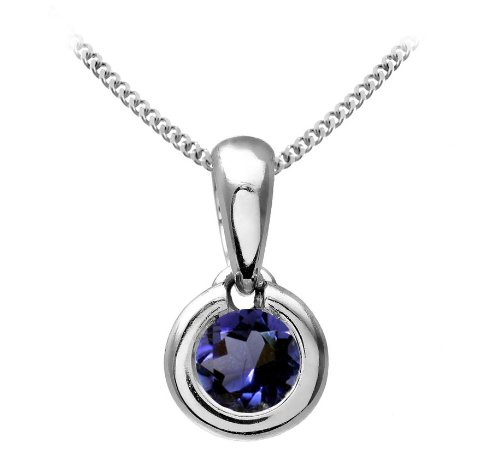 Chic 9 ct White Gold Ladies Solitaire Pendant + Chain with Iolite 0.25 ct - 4mm*4mm