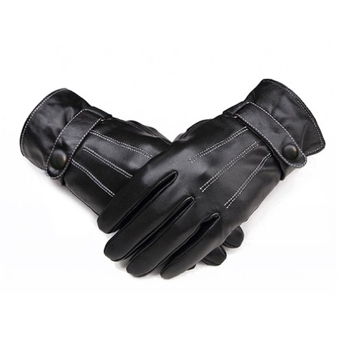 Zeagoo Men's Warm Lined Synthetic Leather Gloves Skiing Cycling Driving Riding,Black,One Size (Mens Skiing Package compare prices)