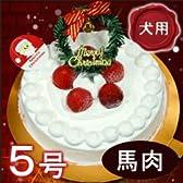 【12/22以降発送可】愛犬用手作りケーキ たっぷりイチゴのクリスマスケーキ(No.2) 5号馬肉ベース