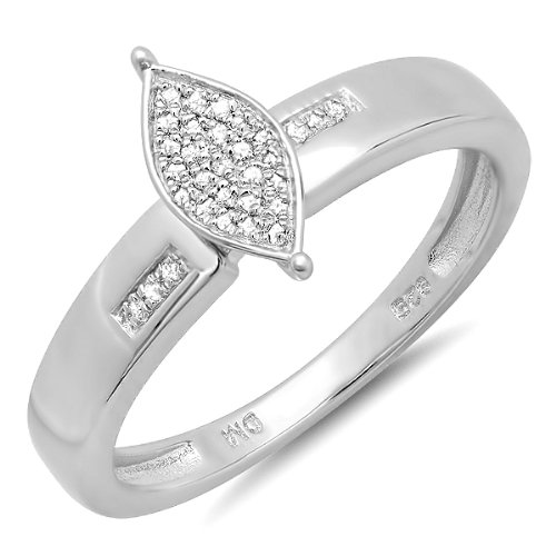 0.20 Carat (ctw) Sterling Silver Round Cut Diamond Marquise Frame Ladies Bridal Engagement Promise Ring