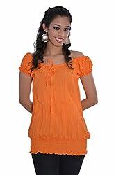 Jaipur Kala Kendra Women's Cotton Cap Sleeves Casual Top Medium Orange