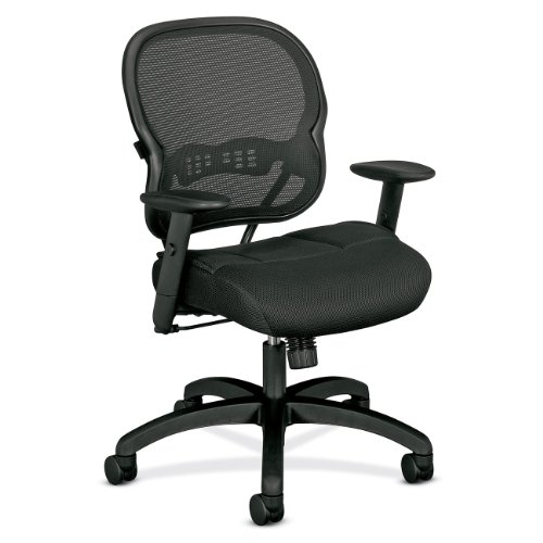HON VL700 Series Mid-back Chair with Adjustable Arms for Office or Computer Desk,Black