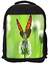 """Snoogg Butterfly In White Flower Casual Laptop Backpak Fits All 15 - 15.6"""" Inch Laptops"""