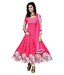 Maruti Creation Women's Georgette Semi-stitched Anarkali Suit Dress Material (MC1010E_FREE_SIZE_PINK)
