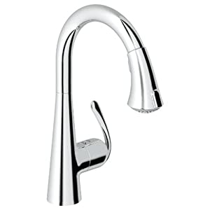 Grohe 32 298 000 ladylux caf main sink dual spray pull down kitchen faucet starlight chrome - Grohe kitchen faucets amazon ...