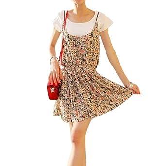Allegra K Ladies Braided Strap Printed Chiffon Spaghetti Dress XS