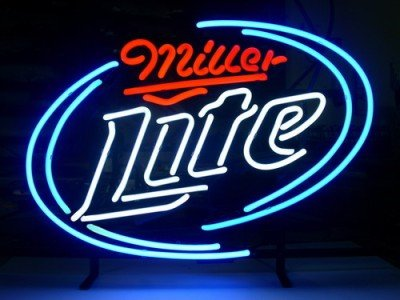 Miller Lite Logo v2 Pub Store Beer Bar Handcrafted Real Glass Tube Neon Light Sign 18