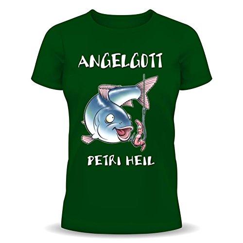 Pescatori divertente t-shirt con scritta! DIo Petri Heil Angel! - pesca & pesca a forma di maglietta di Goodman verde scuro 48