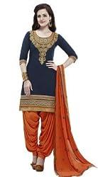 Lakshmi Fashion Creation Women's Cotton Dress Material ( Dark Blue::Orange )