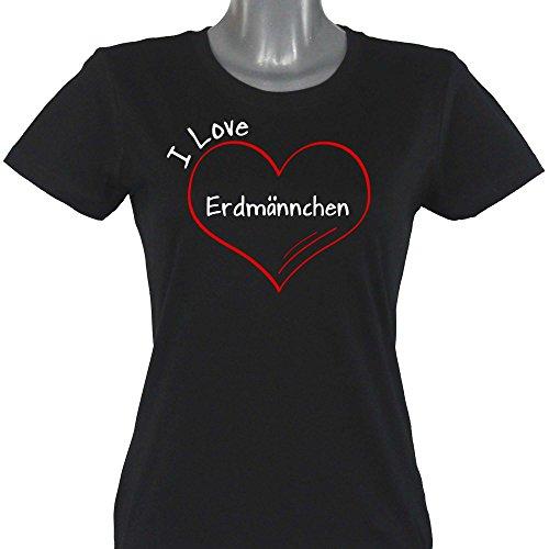 T-Shirt Modern I Love Erdmännchen schwarz Damen Gr. S bis 2XL, Größe:S