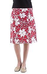 AARR red art printed knee length skirt