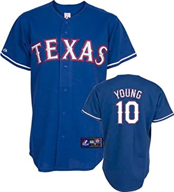 MLB Texas Rangers Michael Young Royal Alternate Short Sleeve 6 Button Synthetic... by Majestic