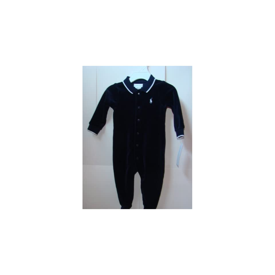 cc921eeb6 Ralph Lauren Baby Boys Navy Blue Velour Romper 6 Months on PopScreen