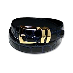 Crocodile Grain Embossed Bonded Navy Blue Leather Belt Gold Buckle