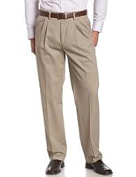 Savane Men's Big & Tall Wrinkle Free Pleated Twill Pant, Khaki, 42W 36L