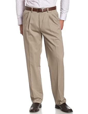 Savane Men's Pleated Wrinkle Free Twill Pant, Khaki, 29x30